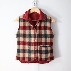 vintage woolrich womens reversible wool plaid vest